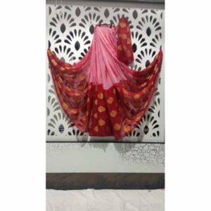 Chiffon Shibori Print Saree By Rajasthan Collection (Pink, Red)