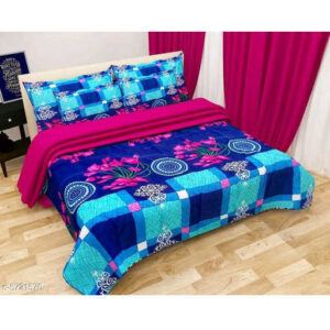 Comfy Stylish Poly Cotton One Queen Size Bedsheet With Two Pillow Covers By Mango Man Market