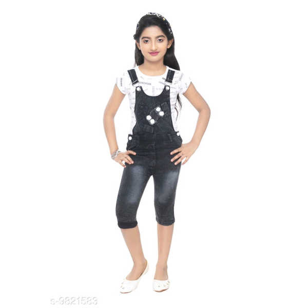 Cute Classy Kids Girls Denim Short Sleeve Dungarees & Jumpsuits By Mango Man Market (Multicolor)