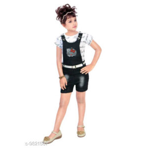 Cute Classy Kids Girls Denim Short Sleeve Dungarees & Jumpsuits By Mango Man Market (Multicolor4)