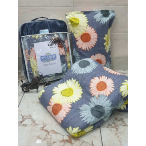 Exclusive Glace Cotton One Double Bedsheet, Two Pillow Covers With One Comforter By Shivam Creation(Multicolor7)