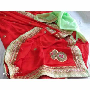 Georgette Handwork Saree By Rajasthan Collection (Red) (2)