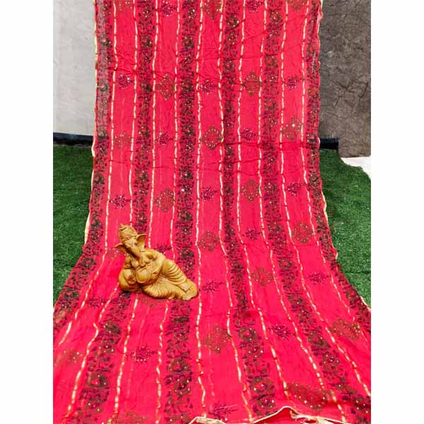 Georgette Saree By Rajasthan Collection (Red)
