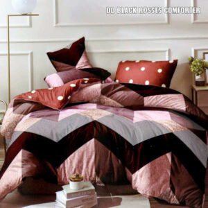 Glace Cotton One Queen Size Bedsheet, Two Pillow Covers With One Double Bed Comforter In Panel Print By Shivam Creation(Multicolor3)