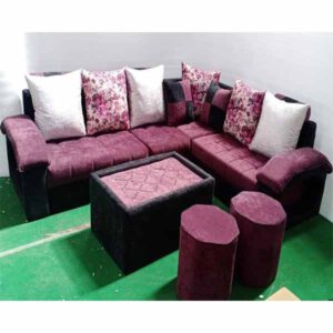 6 Seater Corner Sofa Set With 2 Puffy & 1 Center Table By Ekta Furniture House (Maroon)