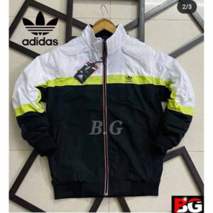 Adidas Jacket For Men By Sai Collection (White, Black)