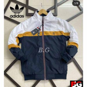 Adidas Jacket For Men By Sai Collection (White, Dark Blue) (2)