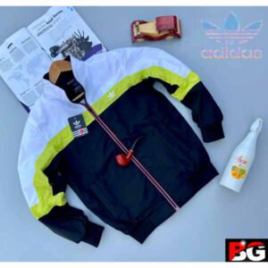 Adidas Jacket For Men By Sai Collection (White, Dark Blue)