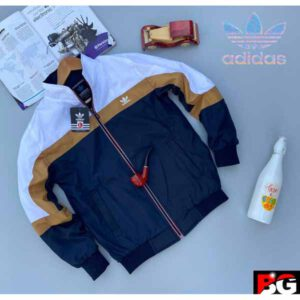 Adidas Jacket For Men By Sai Collection (White, Navy Blue)
