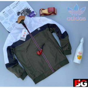 Adidas Jacket For Men By Sai Collection (White, Olive)