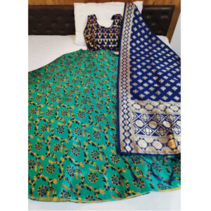 Banarasi Brocade Semi Stitched Lehenga And Padded Blouse With Banarasi Dupatta By DHD Fashion(Green)