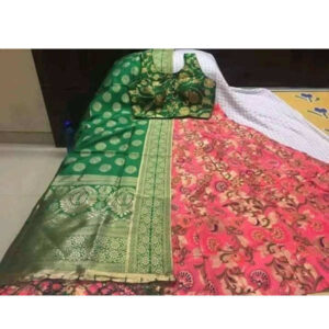Banarasi Brocade Semi Stitched Lehenga And Padded Blouse With Banarasi Dupatta By DHD Fashion(Green, Dark Pink)