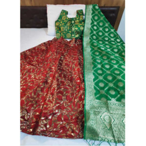 Banarasi Brocade Semi Stitched Lehenga And Padded Blouse With Banarasi Dupatta By DHD Fashion(Maroon)