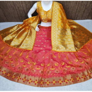 Banarasi Brocade Semi Stitched Lehenga And Padded Blouse With Banarasi Dupatta By DHD Fashion(Red)