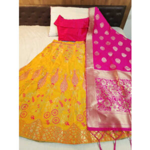 Banarasi Brocade Semi Stitched Lehenga And Padded Blouse With Banarasi Dupatta By DHD Fashion(Yellow2)