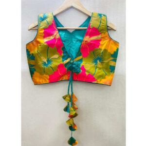 Best Quality Banarasi Silk With Round Neck Holi Work Blouse By DHD Fashion(Multicolor)