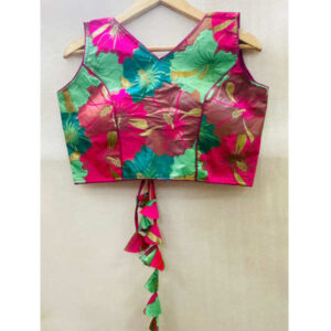 Best Quality Banarasi Silk With Round Neck Holi Work Blouse By DHD Fashion(Multicolor10)