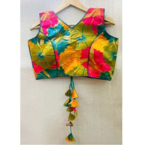 Best Quality Banarasi Silk With Round Neck Holi Work Blouse By DHD Fashion(Multicolor2)