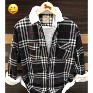 Burberry Check Shirt With Heavy Fur Inside For Men By Sai Collection (Black) (2)