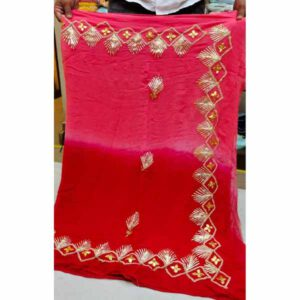 Georgette Saree By Rajasthan Collection (Red, Pink) (2)