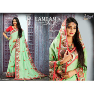 Hamdam Vichitra Silk Embroidery Work Saree And Blouse By DHD Fashion