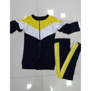 Hot Looking Rib Cotton Solid Zipper Tracksuit By DHD Fashion