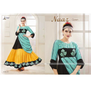 Naaz Designer Cotton 3/4 Th Sleeve Digital Printed Hand Work Embroided Party Wear Gown By DHD Fashion