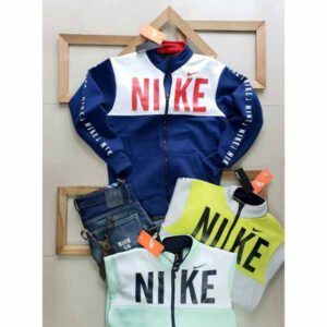 Nike Jacket For Men By Sai Collection (White, Navy Blue)