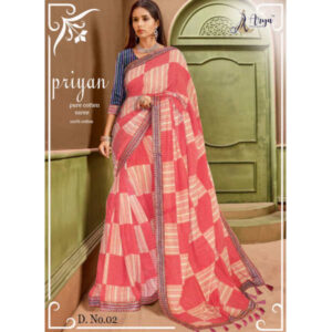 Priyan Cotton Embroidery Work Saree With Running Blouse By DHD Fashion