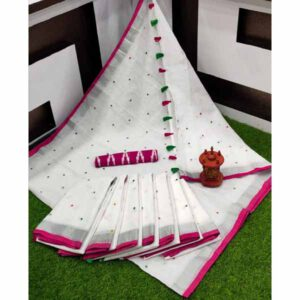 Semi Linen Saree With Foil Mirror Work By Shree Ethnic Hub (White,Pink)
