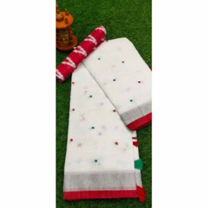 Semi Linen Saree With Foil Mirror Work By Shree Ethnic Hub (White,Red)