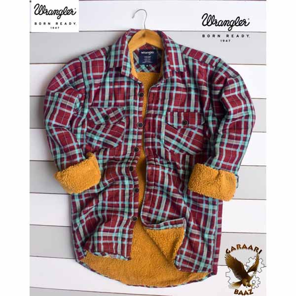 Wrangler Check Shirt With Heavy Fur Inside For Men By Sai Collection (Purple)