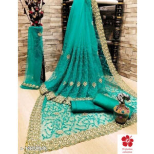 Aagam Alluring Net Zari Embroidered Saree And Blouse By Priyanka Bansal(Turquoise)