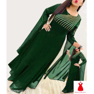 Aakarsha Voguish Georgette 34 Th Sleeve Printed Stitched Kurti By Hafsa Collection(Green)