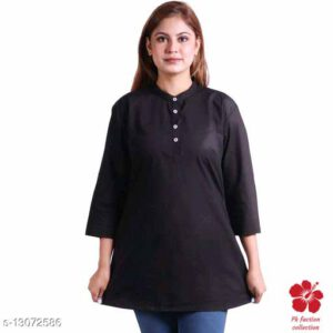 Banita Refined Cotton Tunic (Short Kurti) With 34 th Sleeves By Priyanka Bansal(Black) (2)
