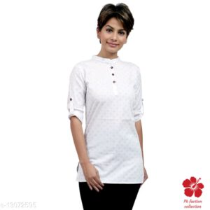 Banita Refined Cotton Tunic (Short Kurti) With 34 th Sleeves By Priyanka Bansal(White) (2)