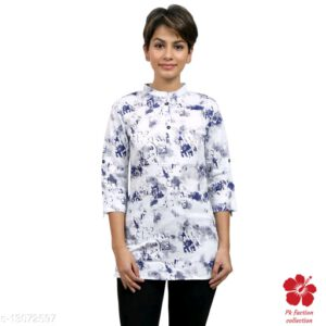 Banita Refined Cotton Tunic (Short Kurti) With 34 th Sleeves By Priyanka Bansal(White) (3)