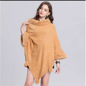 Beautiful 2020 New Round Neck Batwing Sleeve Pom Pom Woolen Ponchos By Blossom boutique(Light Yellow)
