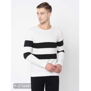 Best Selling Cotton Round Neck Full Sleeve Color Block T-Shirt By Hafsa Collection(White3)