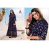 Blue Diamond 34 Th Sleeve 14 Kg Rayon Stitched Long Gown With Foil Print By DHD Fashion(Dark Blue5)