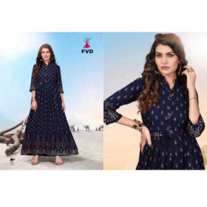 Blue Diamond 34 Th Sleeve 14 Kg Rayon Stitched Long Gown With Foil Print By DHD Fashion(Dark Blue7)