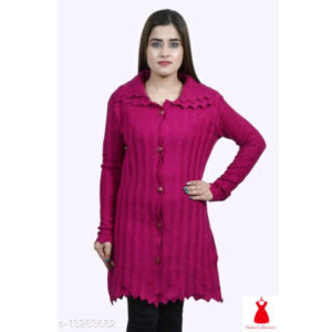 Classic Fabulous Women Full Sleeve Wool Sweaters By Hafsa Collection(Ruby)
