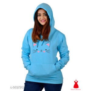 Classy Fashionable Women Cotton Blend Round Neck Full Sleeve Printed Sweatshirts By Hafsa Collection(Light Blue)