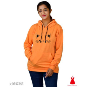 Classy Fashionable Women Cotton Blend Round Neck Full Sleeve Printed Sweatshirts By Hafsa Collection(Orange)
