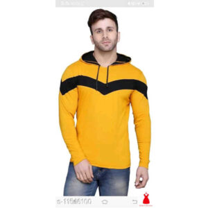 Classy Ravishing Men Cotton Blend Round Neck Full Sleeve Color Blocked T-Shirt By Hafsa Collection(Yellow)
