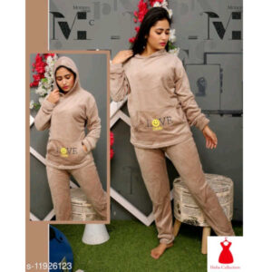Eva Adorable Women Woolen Round Neck Full Sleeve Nightsuits By Hafsa Collection(Light Grey)