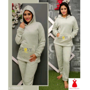 Eva Adorable Women Woolen Round Neck Full Sleeve Nightsuits By Hafsa Collection(Off White)