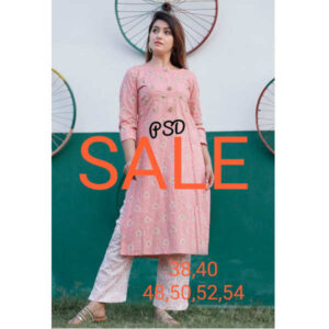 Festive Loot Price Women Cotton Stitched Kurti With Pant By Krishna Collection(Pink5)