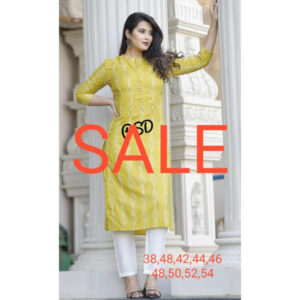 Festive Loot Price Women Cotton Stitched Kurti With Pant By Krishna Collection(Yellow5)