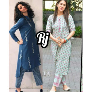 Festive Loot Price Women Cotton Stitched Kurti With Pant Set Combo By Krishna Collection(Multicolor3)